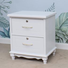 欧式小床头柜迷你实木窄床边柜子卧室简约储物收纳柜带锁象牙白色