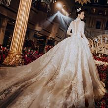 新娘主纱复古重工奢华长拖尾赫本宫廷风长袖 抖音 法式婚纱2019新款