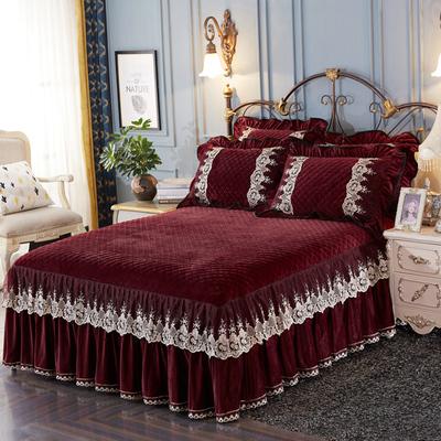 水晶绒夹棉床裙单件加厚保暖短毛绒裙式床单床罩防滑床套加绒冬季