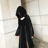 Black punk street chiffon shirt in a long dark cold hood loose embroidered tanning jacket coat