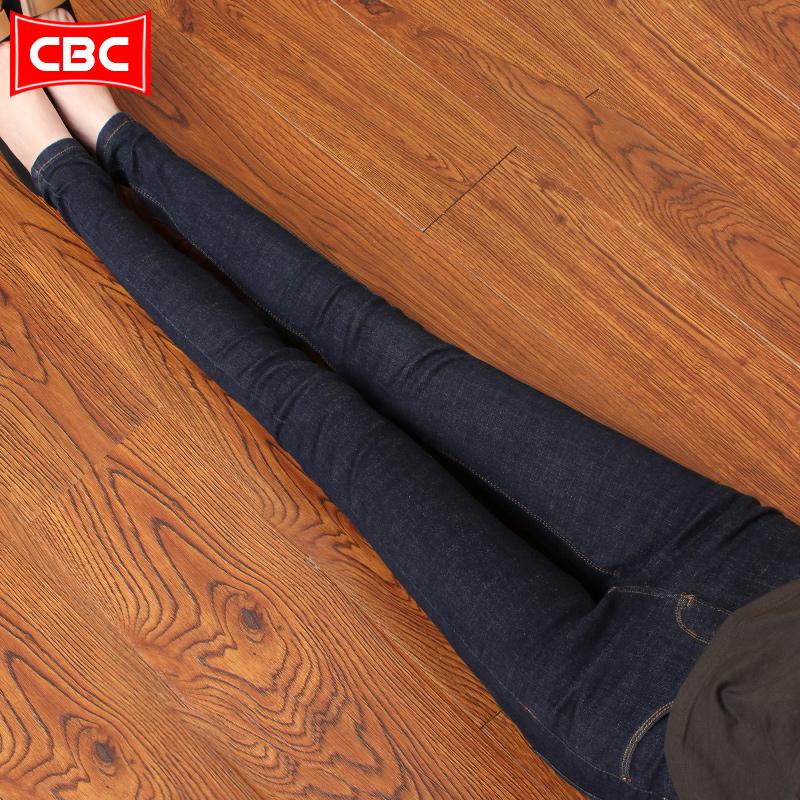2018新款牛仔裤女式秋冬加绒棉裤高弹力深蓝色修身显瘦小脚铅笔裤,牛仔裤女款