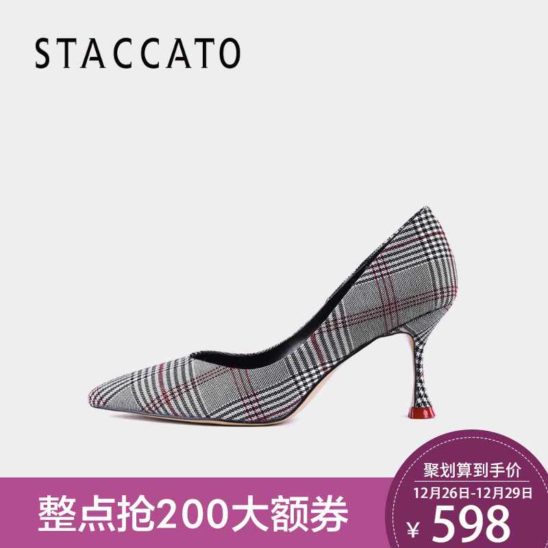 思加图2018春秋季格纹布细高跟女单鞋浅口女鞋S5501AQ8