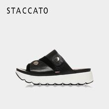 思加图夏季专柜同款软羊皮休闲女凉拖鞋9F205BT7STACCATO