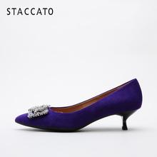 思加图春季羊绒时尚水钻方扣优雅细高跟鞋子猫跟单鞋女9V401CQ8图片