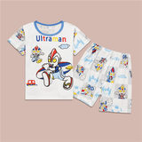 Children's Wear Children's Ultraman Summer Short Sleeve Set Car Boy Baby Spiderman Pajamas Armor Warrior