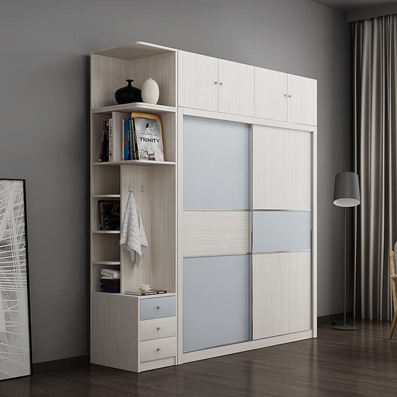 北欧推拉门衣柜简约现代板式木质整体衣柜移门趟门滑门1.6/1.8米