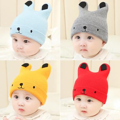 婴儿帽子秋冬新生儿胎帽男女宝宝纯棉小孩套头帽加厚0-3-6-12个月