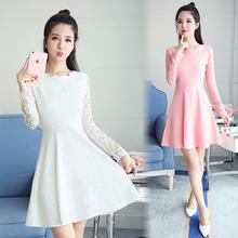 显瘦长袖 秋冬 白色礼服打底裙修身 女装 2019春季新款 蕾丝连衣裙韩版图片