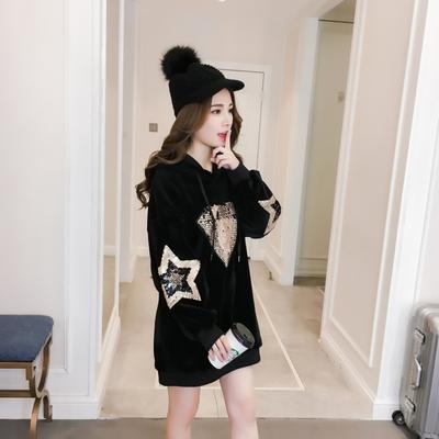 冬季明星同款中长款金丝绒连帽卫衣加大码女装宽松加绒加厚打底衫