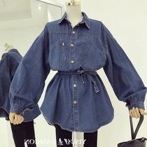 牛仔衬衫女早春新品韩版系带收腰中长款长袖衬衣宽松chic上衣外套