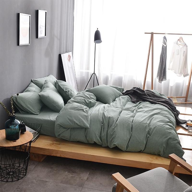 简约北欧风格色织水洗棉四件套纯色全棉斜纹套件酒店男士床上用品