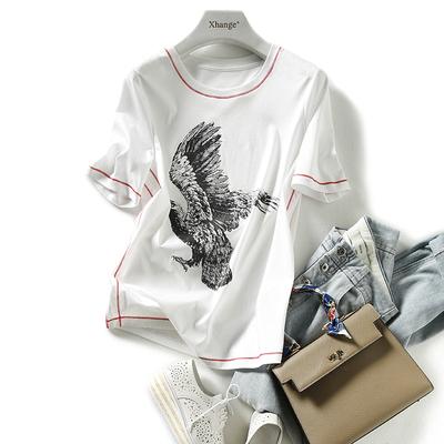 の[TX192759MG]笑涵阁简约时髦明线装饰胶印老鹰 纯棉圆领短袖T恤