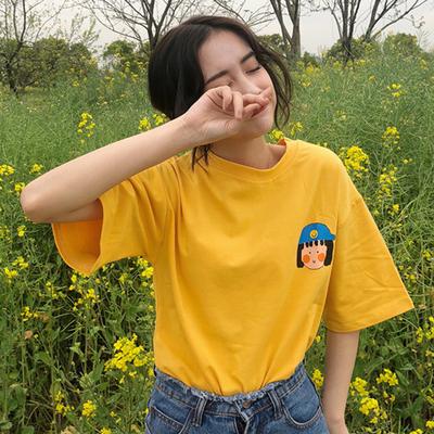 春夏新款韩版ulzzang原宿bf百搭可爱卡通印花宽松学生短袖T恤女潮