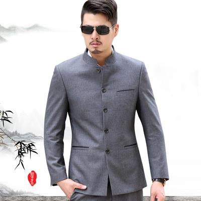 中青年男士西服套装 中华立领修身中山装 中国风中式爸爸民族服装