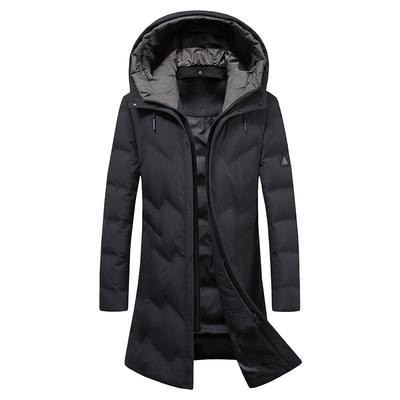 秋冬季爸爸装保暖外套男中老年人男士纯色羽绒服男中长款防寒服男
