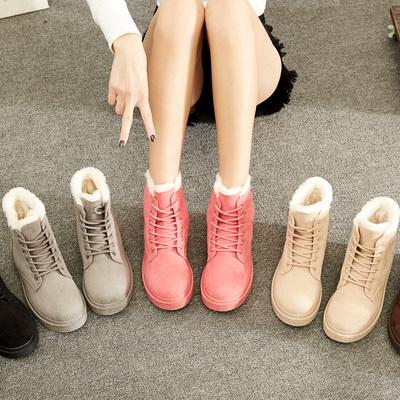 【反季靴子】秋冬季韩版百搭短筒雪地靴女鞋马丁靴女短靴保暖棉