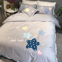 Cute cartoon long-staple cotton bed linen Quilt Set embroidered cotton all-cotton children and girls pink star bed linen four sets