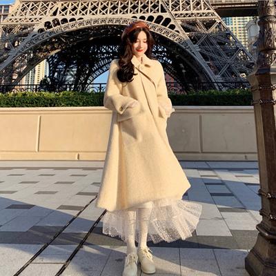 秋冬装大码女装秋款洋气毛呢大衣外套微胖妹妹最爱网纱连衣裙套装