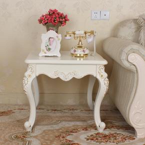 新款欧式茶几实木角几小茶几 圆形茶几沙发边几描金描银 雕花边几