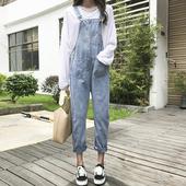 学生可爱休闲背带牛仔裤 子时尚 春季女新款 韩版 洋气连体裤 宽松长裤