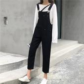 学生复古黑色背带牛仔裤2019女春装新款宽松直筒休闲吊带连体裤子
