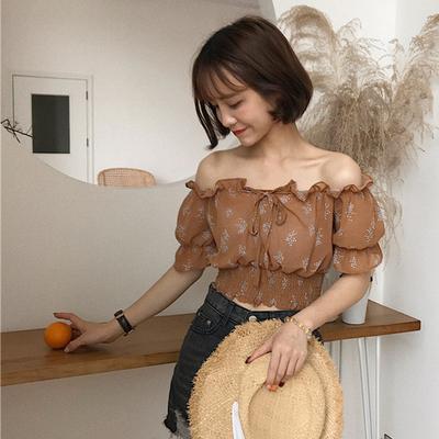 夏季女装新款韩版修身一字领露肩短袖碎花雪纺衫气质收腰短款上衣