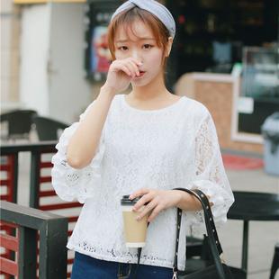 春装新款女装韩版时尚甜美钩花镂空花朵蕾丝衫气质喇叭袖纯色上衣