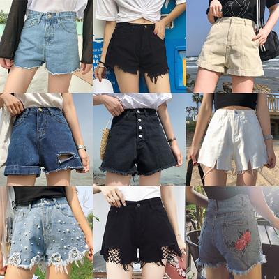 夏季新款女装单排扣高腰宽松显瘦黑色毛边学生牛仔阔腿短裤女热裤