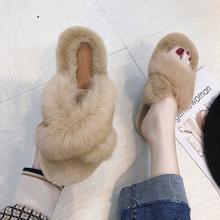 网红毛毛拖鞋女韩版百搭新款棉拖2018秋冬平底外穿兔毛交叉凉拖鞋