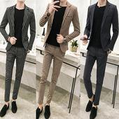 潮流帅气发型师小西装 男修身 一套 秋季潮男休闲竖条纹西服套装 韩版图片