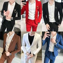 潮青少年帅气薄款 潮男发型师两件套 西服套装 男修身 小西装 一套韩版