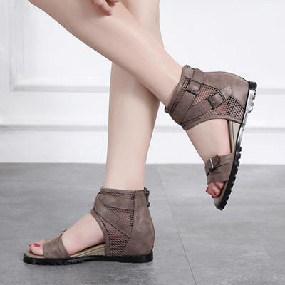 夏季高帮中跟鱼嘴女鞋复古内增高坡跟凉鞋女罗马镂空露趾平底鞋子