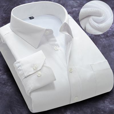冬季男士保暖白衬衫修身工装商务职业正装棉纯色长袖加绒加厚衬衣