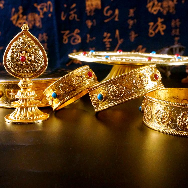 佛教用品密宗法器藏传铜合金供修曼扎盘 曼达盘 供曼茶罗小号新