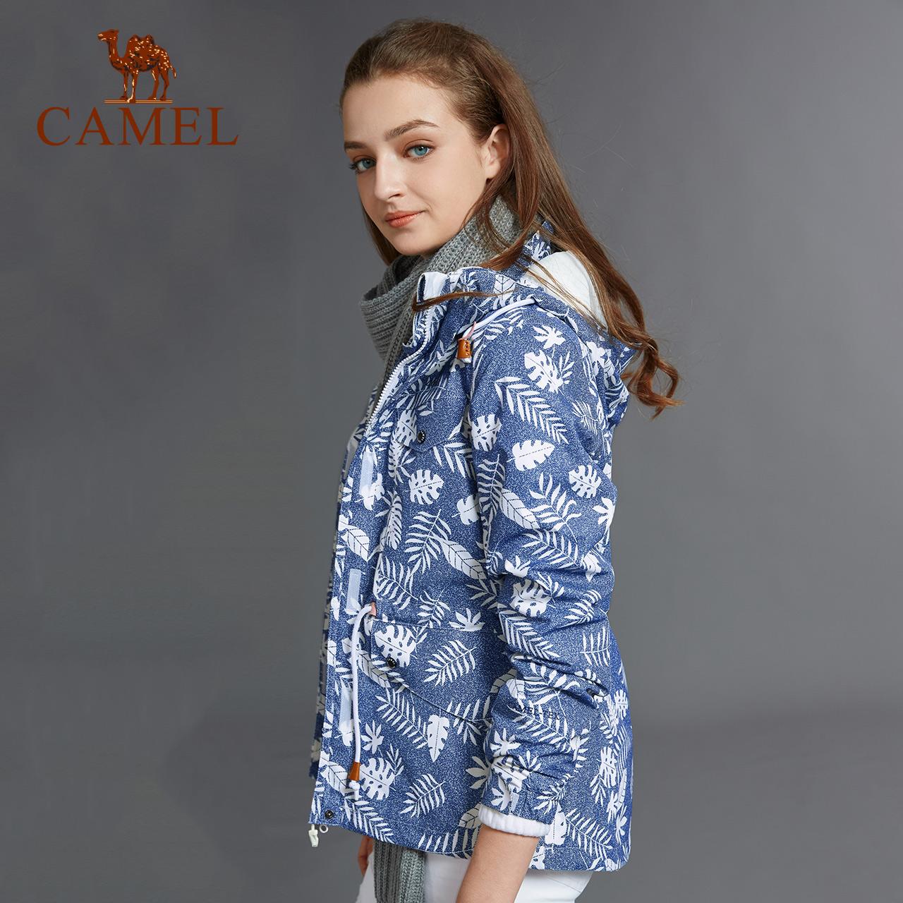 骆驼户外冲锋衣 女潮牌加绒加厚三合一两件套登山服防风外套女式