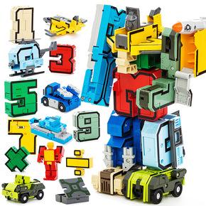 变形数字飞机车金刚战队合体3-5-8岁益智机器人男孩儿童礼物玩具