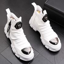 新款春秋季白色高帮帆布鞋男百搭透气马丁靴学生低帮休闲板鞋