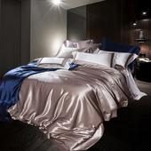 瑶台居纯色真丝四件套件高档素色100桑蚕丝高端定制真丝床上用品图片