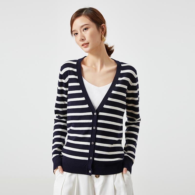 春竹秋冬新品女士100%純羊毛衫V領條紋百搭針織開衫媽媽裝毛衣