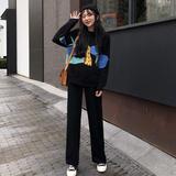 韩版时尚休闲套装秋季长袖卡通针织衫毛衣+半身裙+阔腿裤三件套女