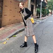 chic复古格子呢子格子背带裙连衣裙显瘦裙子 秋冬女装 韩版 2018新款