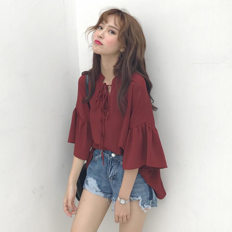 2019春款韩版网红时尚红色港风宽松衬衣复古系带半袖雪纺衫衬衫女