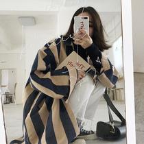 秋冬女装韩版宽松百搭中长款宽条纹长袖衬衫学生休闲衬衣上衣外套