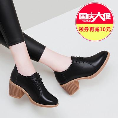 韩版少女小清新高跟鞋2018新款春秋季女鞋子百搭网红中跟粗跟单鞋