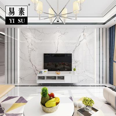 现代客厅电视瓷砖背景墙简约微晶石天然黑白大理石金属边框影视墙