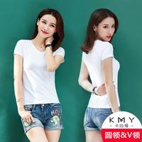 卡玛娅夏季女装半袖纯色打底衫白色紧身体恤修身短袖棉T恤女2878