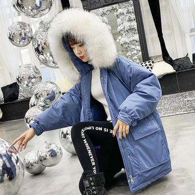 韩版工装羽绒棉服女2018新款大毛领中长款宽松冬装外套加厚棉袄潮