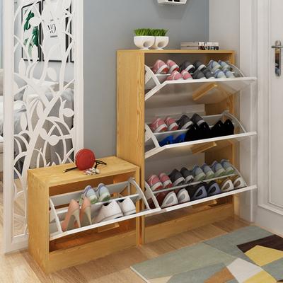 北欧鞋柜烤漆小户型多层简易鞋架原木色换鞋凳欧式超薄翻斗鞋柜