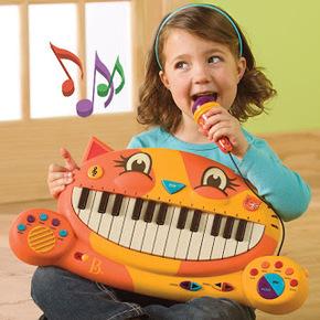 美國B.Toys大嘴貓琴 兒童電子琴玩具 寶寶音樂玩具 鋼琴玩具1-3歲