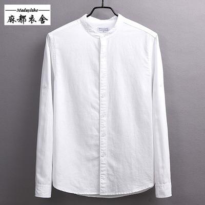 春季长袖圆领亚麻衬衫男休闲打底男士大码棉麻料修身型立领白衬衣